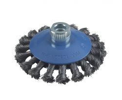 Szczotka stożkowa pleciona 100 stalowa 100 mm, 0,5 mm, 12 mm, M14