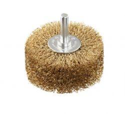 Szczotka tarczowa z drutu falistego 80 × 0,2 mm mosiądzowana 80 mm, 0,2 mm, 35 mm