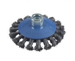 Szczotka stożkowa pleciona 115 stalowa  115 mm, 0,5 mm, M14