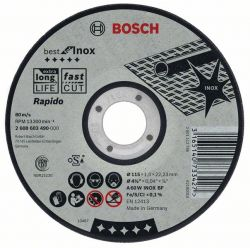 Tarcza tnąca prosta Best for Inox – Rapido A 60 W INOX BF, 115 mm, 1,0 mm