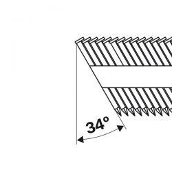 Gwóźdź łączony papierem, łeb D, SN34DK 75R 2,8 mm, 75 mm, cynkowane, rowkowane